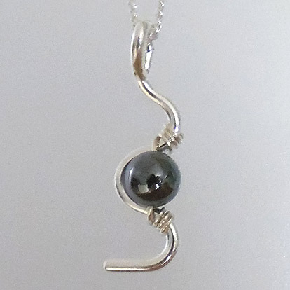S Pendant with Hematite Bead