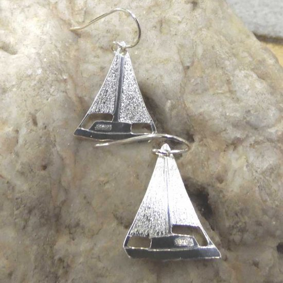 Silver Yacht Earrings