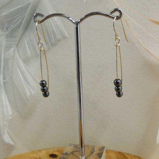 Hematite Loop Earrings