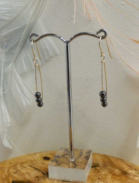 Haematite Loop Earrings