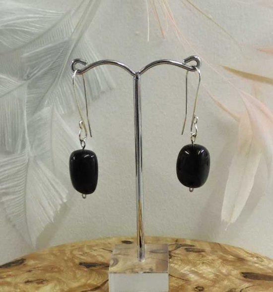 Nugget Earrings Black Agate